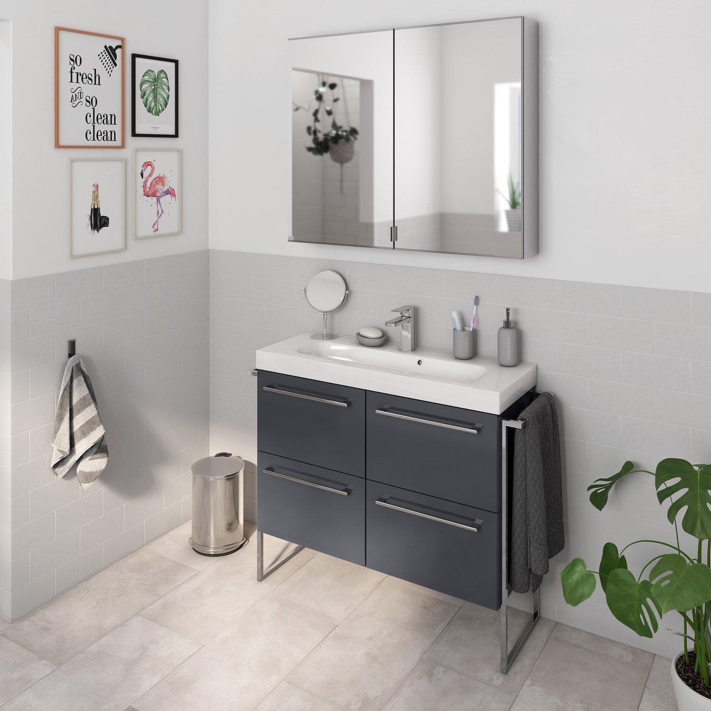 Salle De Bain Remix Gris ~ meuble de salle de bains remix l 91 gris simple vasque 4