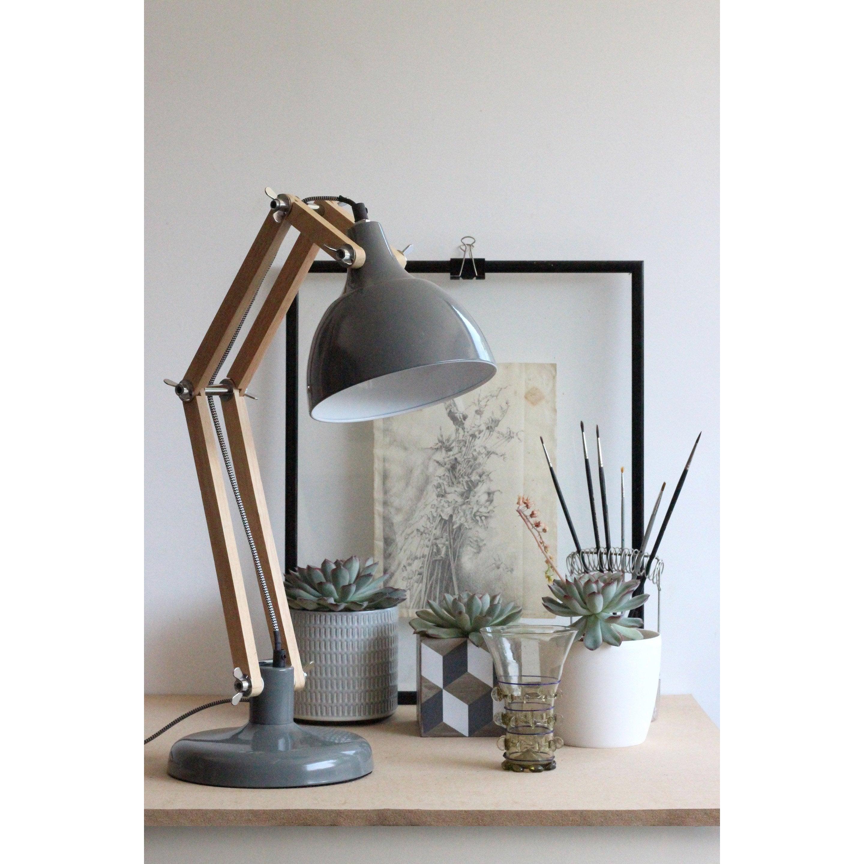 Lampe De GrisRed BureauScandinaveBois Cartel Dexter b6gf7Yy
