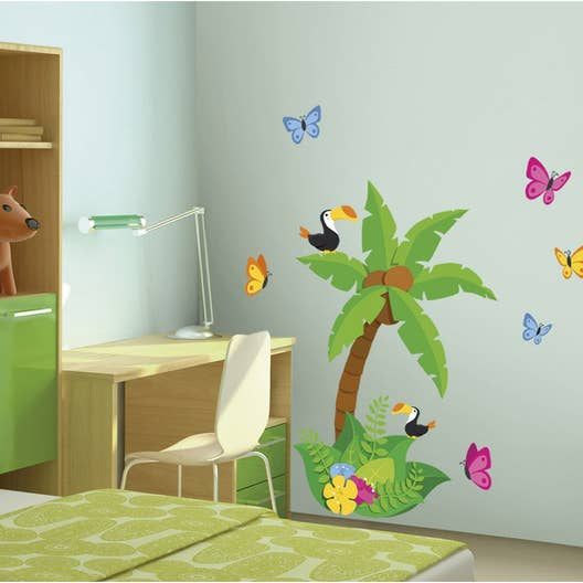 sticker jungle 48 cm x 68 cm leroy merlin. Black Bedroom Furniture Sets. Home Design Ideas