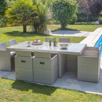 Salon de jardin encastrable résine tressée gris, 8 personnes | Leroy ...