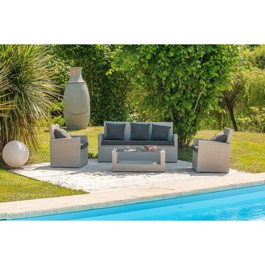 salon bas de jardin portovecchio rsine tresse gris 5 personnes - Leroy Merlin Salon De Jardin En Resine Tressee
