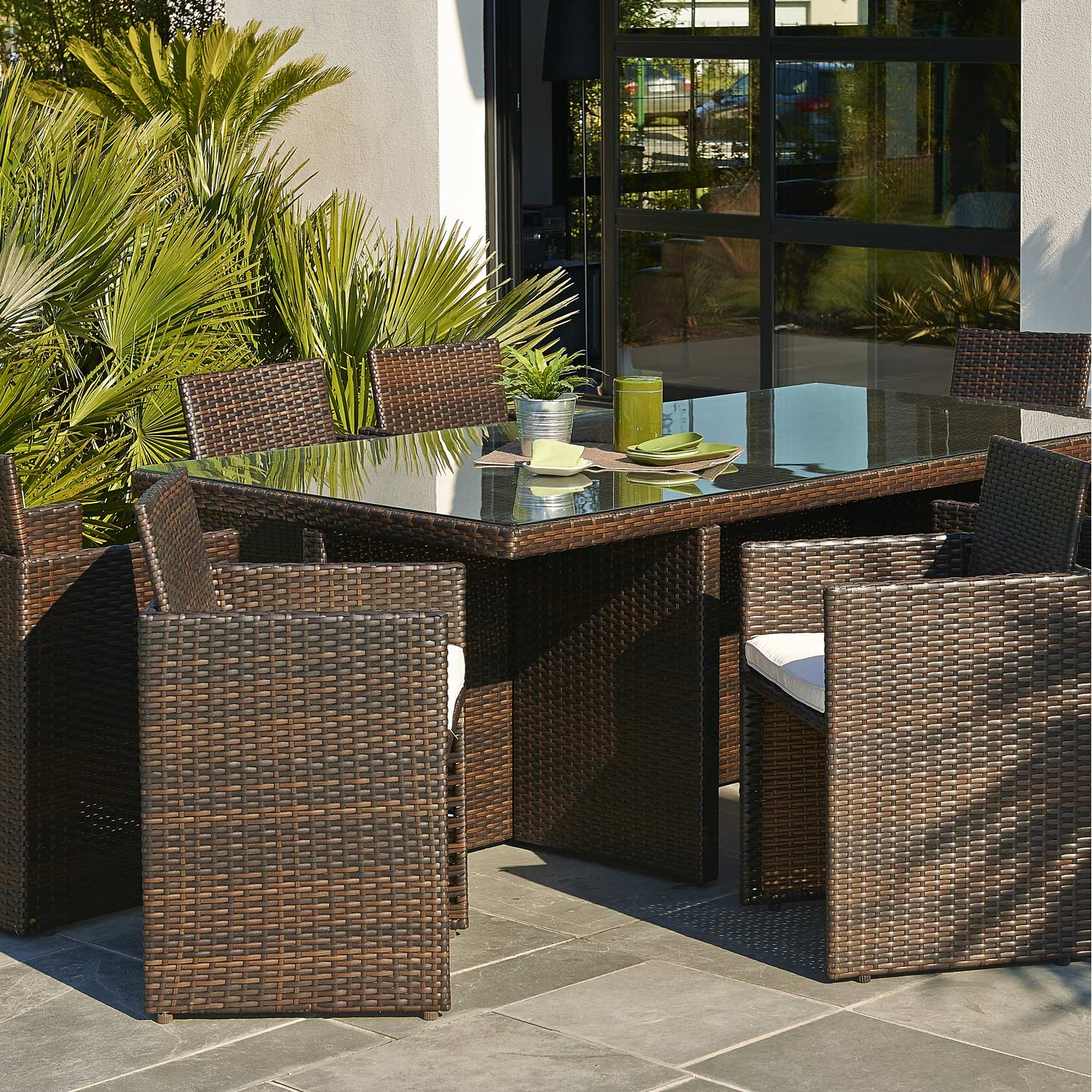 salon de jardin encastrable r sine tress e marron 8 personnes leroy merlin. Black Bedroom Furniture Sets. Home Design Ideas