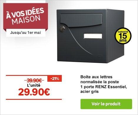 OP A VOS IDEES MAISON Boîte aux lettres normalisée la poste 1 porte RENZ Essentiel, acier gris 70253834