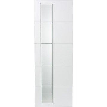 Porte coulissante revêtu blanc Alaska ARTENS, 204 x 83 cm