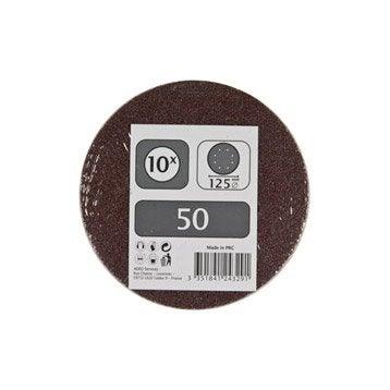 Lot de 10 disques abrasifs, 125 mm, grains 50