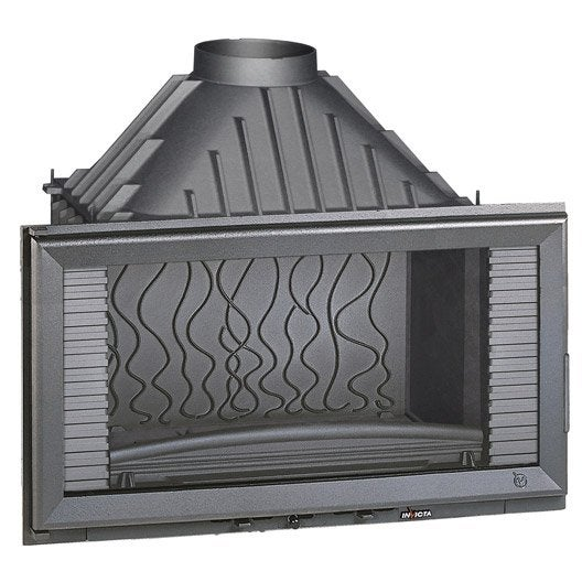 Foyer bois fa ade droite invicta 6284 44 14 kw leroy for Foyer exterieur a donner