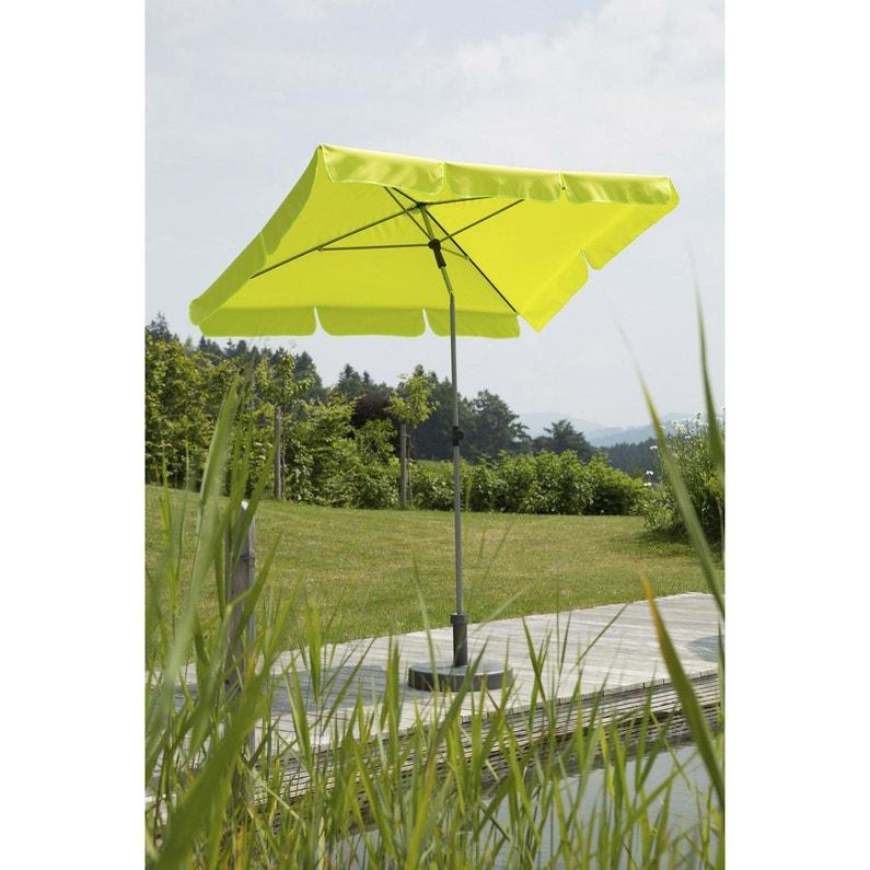 Parasol droit Locarno vert pomme rectangulaire, L.180 x l.120 cm