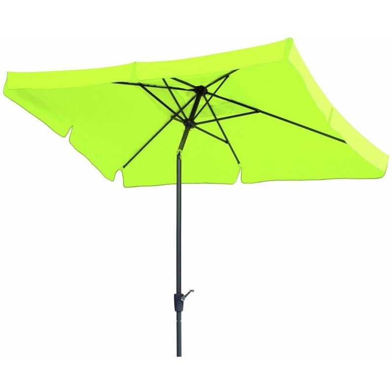 Parasol droit New york vert pomme rectangulaire, L.270 x l.150 cm
