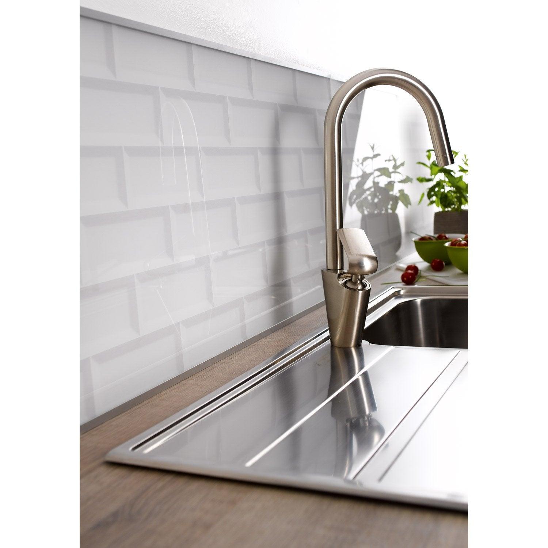 cr dence verre carrelage m tro blanc cm x cm. Black Bedroom Furniture Sets. Home Design Ideas