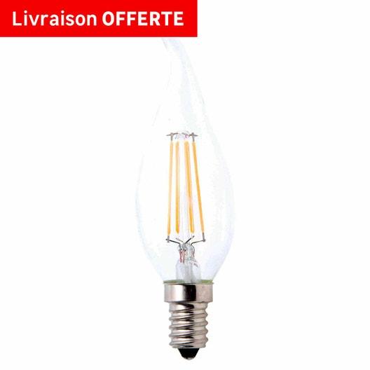 Ampoule filament flamme coup de vent LED 5W = 470Lm (équiv 40W) E14 2700K LEXMAN