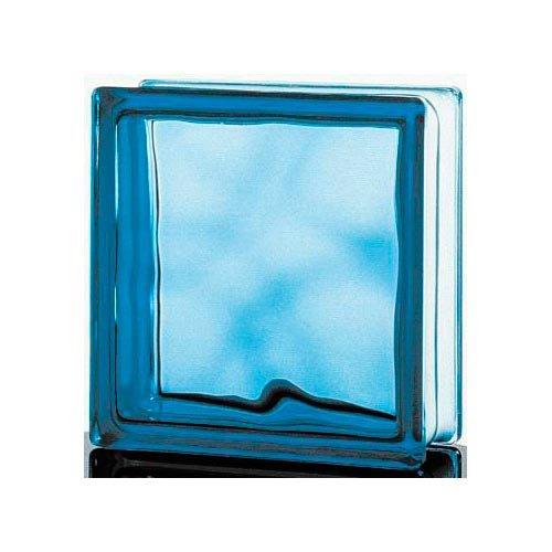Brique De Verre Bleu Ciel Ondulé Brillant