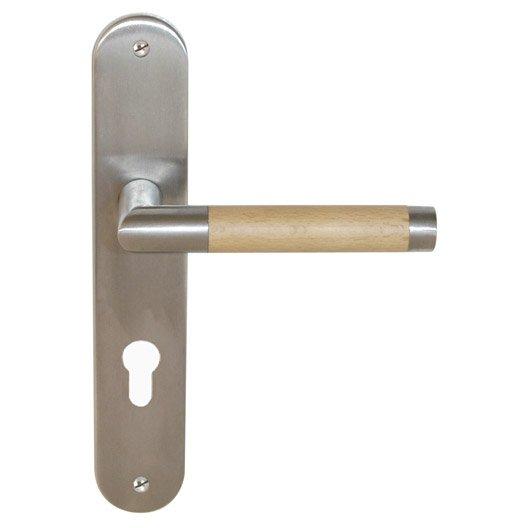 2 poign es de porte d 39 entr e gait trou de cylindre acier inoxydable mat 195 mm leroy merlin. Black Bedroom Furniture Sets. Home Design Ideas
