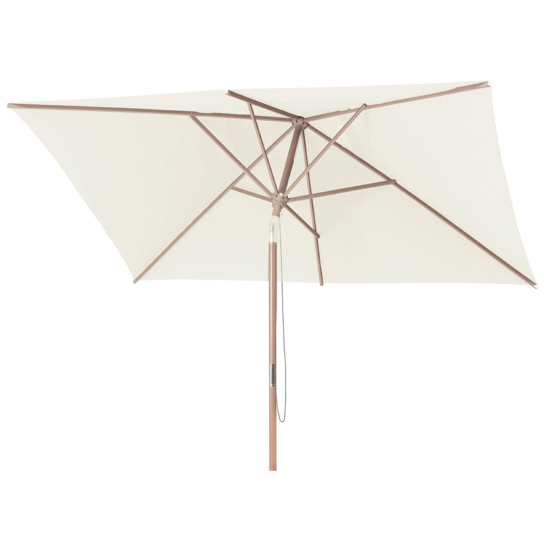 Parasol droit Malaga naturel rectangulaire, L.300 x l.200 cm