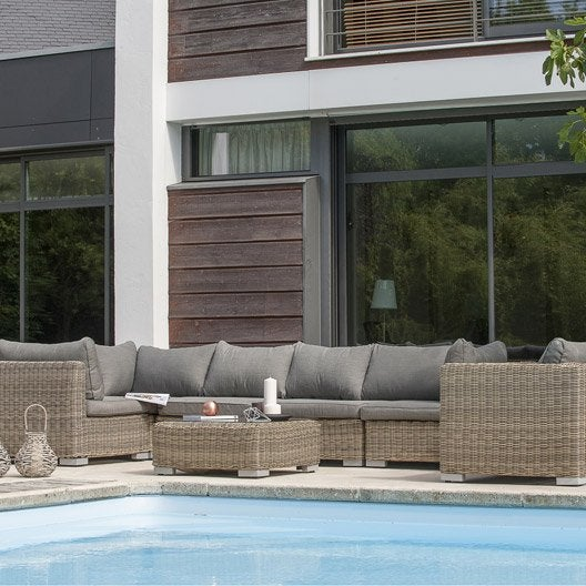 Salon jardin Montmartre 1 fauteuil,3modules d'angle,2 modules centraux,1 table