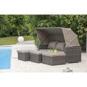 Salon bas de jardin Calèche résine tressée gris anthracite table + 3 fauteuils