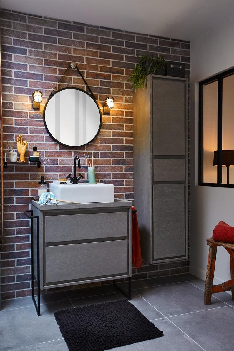 une salle de bains au style industriel leroy merlin. Black Bedroom Furniture Sets. Home Design Ideas