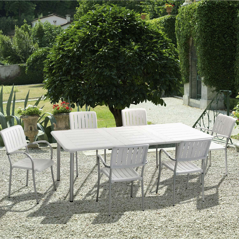 Salon de jardin maestrale blanc 6 personnes leroy merlin - Salon de jardin blanc ...