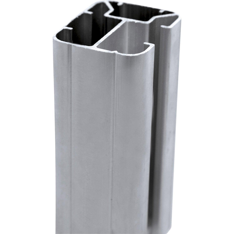 poteau aluminium sceller premium gris clair x x cm leroy merlin. Black Bedroom Furniture Sets. Home Design Ideas