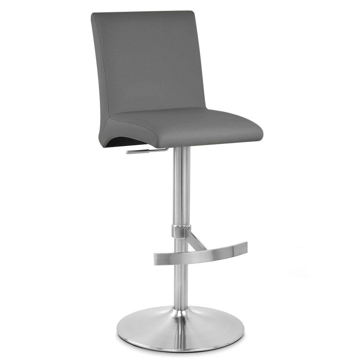 Tabouret de bar design, simili cuir, gris, Deluxe high back