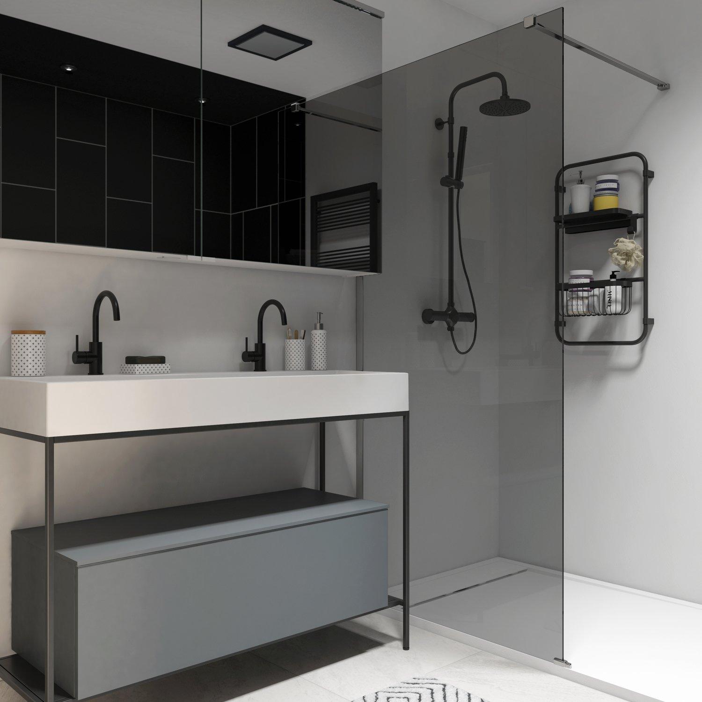Salle De Bain Image meuble de salle de bains avec une structure en métal noir