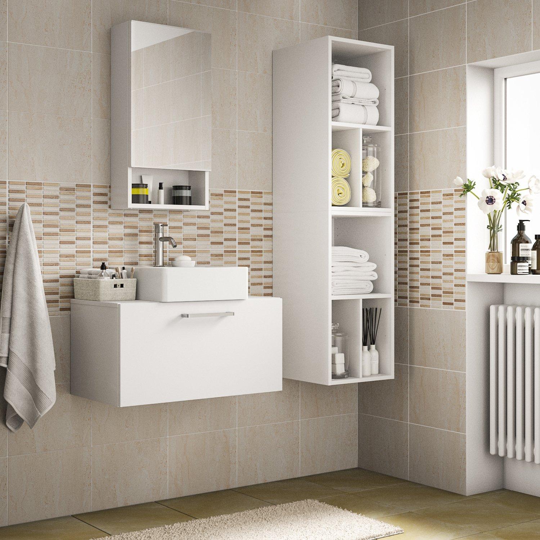 Meuble de salle de bains, blanc, faible profondeur, dans la salle