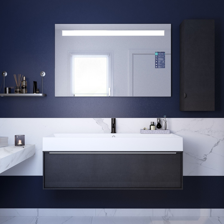 Meuble de salle de bains design effet bois noir | Leroy Merlin