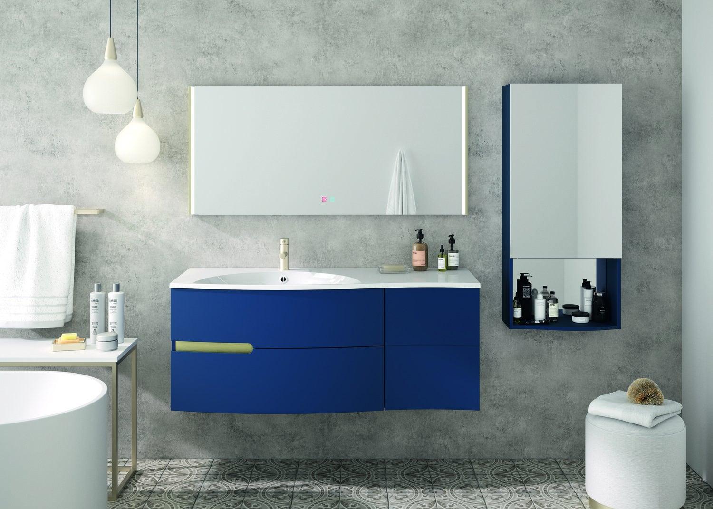 Meuble de salle de bains, bleu nuit, effet vague  Leroy Merlin