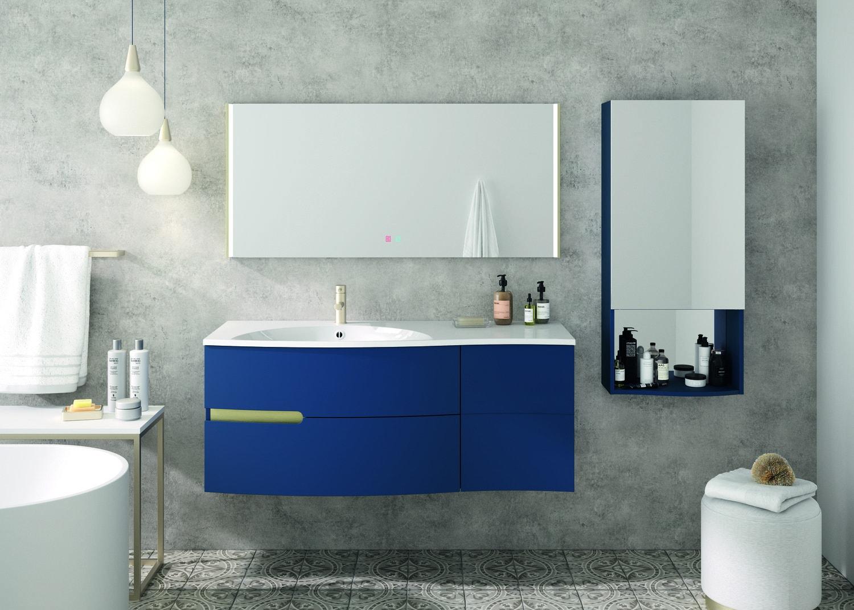 Meuble de salle de bains, bleu nuit, effet vague | Leroy Merlin