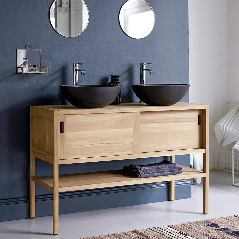 Meuble de salle de bains en teck avec tablette  Leroy Merlin