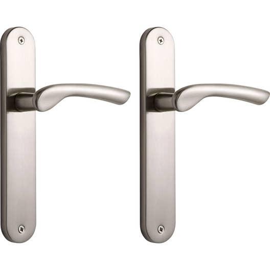 2 poignes de porte corail sans trou aluminium 195 mm