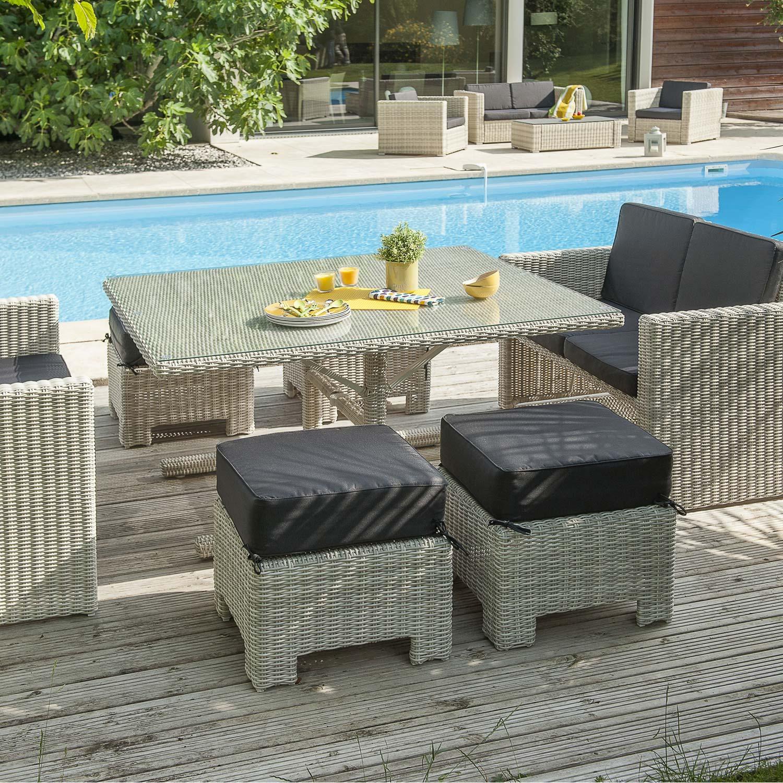 Salon jardin oceane lunch blanc 1 table 2 banquettes 4 for Ensemble terrasse pas cher
