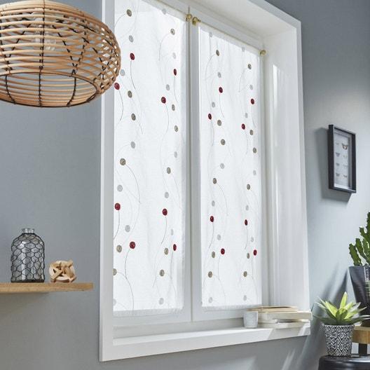 paire de vitrages tamisant petite hauteur orion rouge. Black Bedroom Furniture Sets. Home Design Ideas