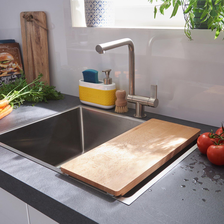 une cuve inox avec une planche adapt e pour la cuisine leroy merlin. Black Bedroom Furniture Sets. Home Design Ideas