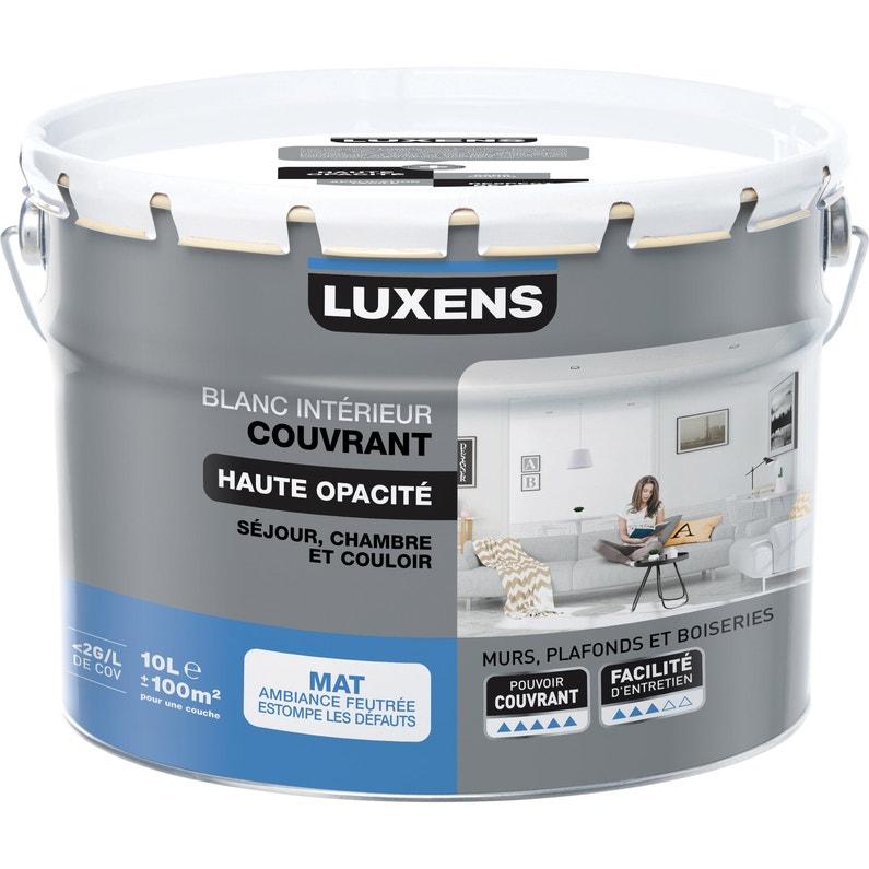 Peinture Luxens Mur Plafond Et Boiserie Couvrant Blanc Mat 10 L