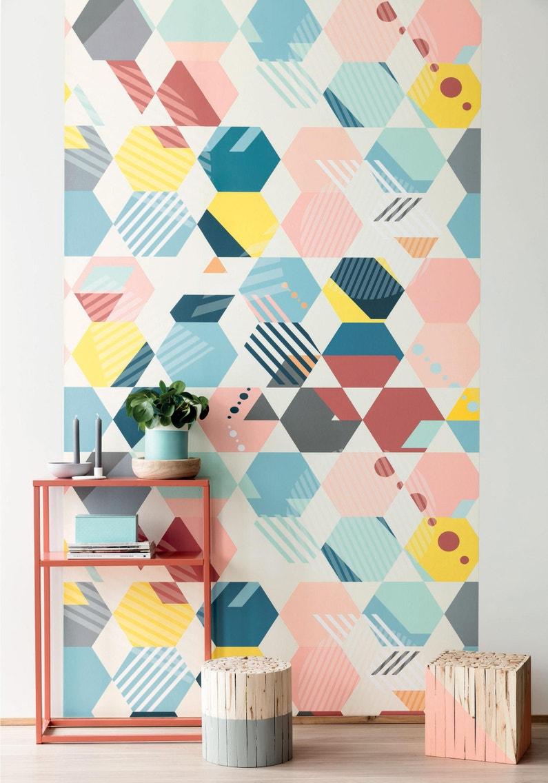 Papier Peint Intissé Spaces Panoramique Mosaïque Multicolore
