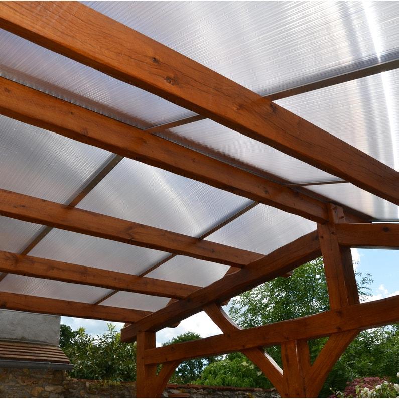 Plaque de toiture plat polycarbonate claire l.0.98 x L.3 m