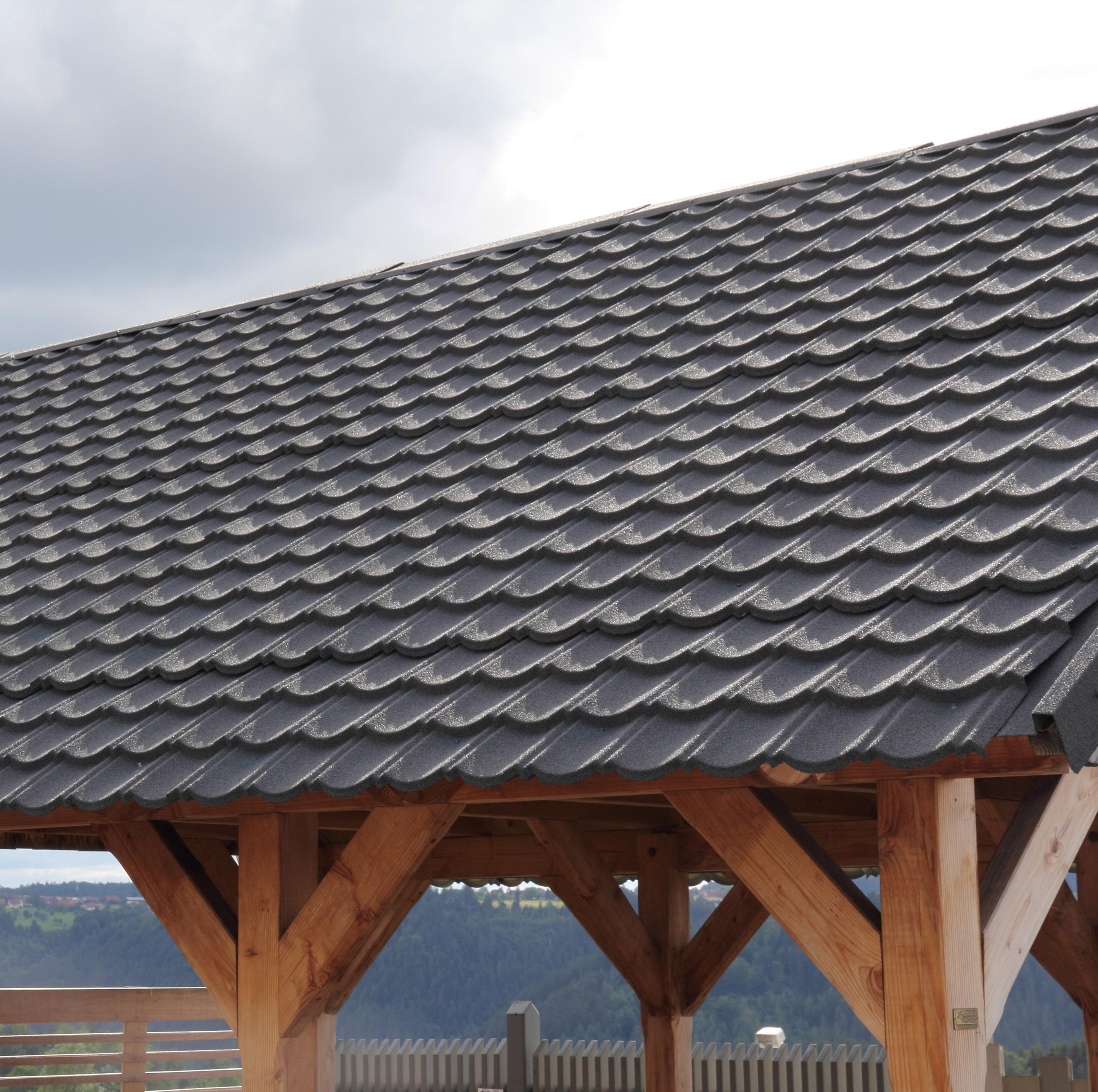 Plaque de toiture imitation tuile acier galvanisé anthracite l.0.86xL.1.14 m IKO | Leroy Merlin