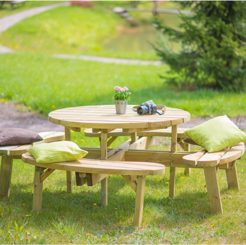 Salon de jardin Sapin bois naturel, 8 personnes