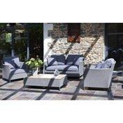 Salon jardin Riade textilène gris 1 banquette, 2 fauteuils, 1 table basse