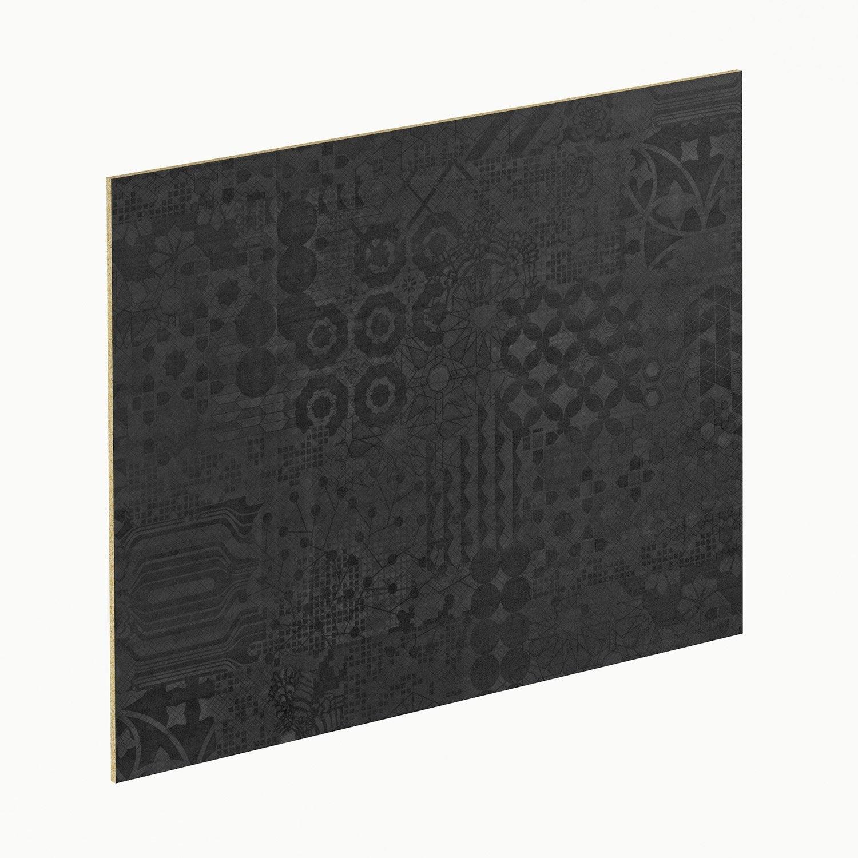 Crédence stratifié Geom noir / blanc H.64 cm x Ep.9 mm x L.300 cm