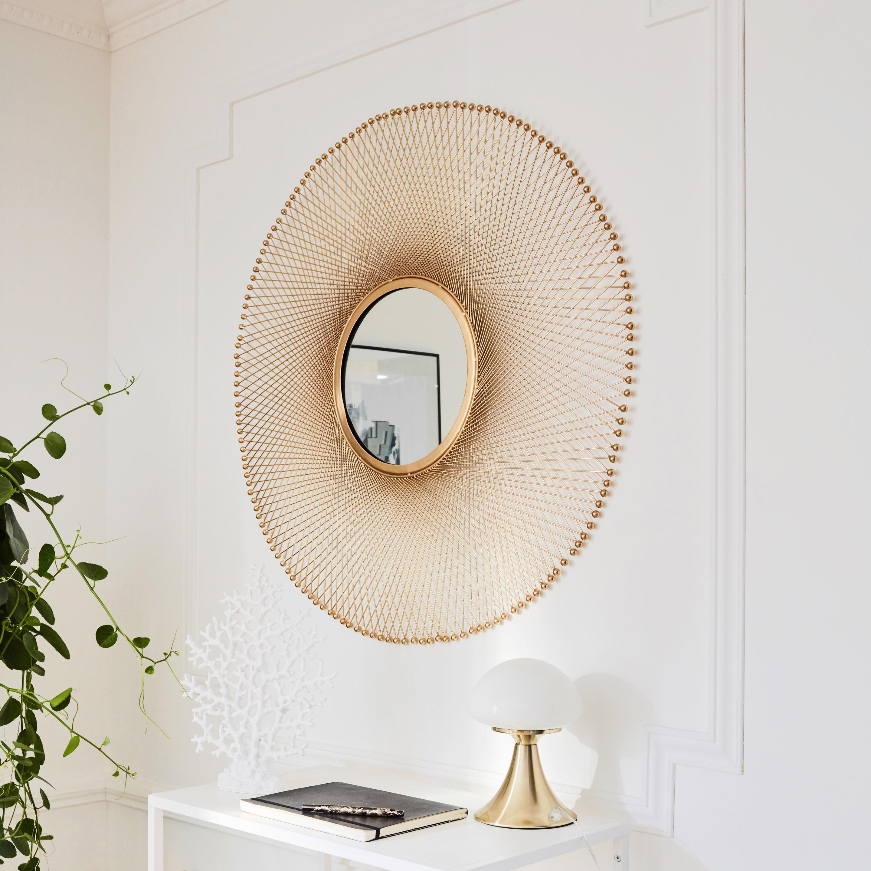 Miroir rond Chic, dorée, D 30 cm