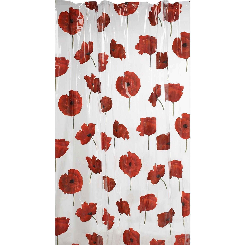 Rideau de douche en plastique l.180 x H.200 cm rouge, Pavot SENSEA ...