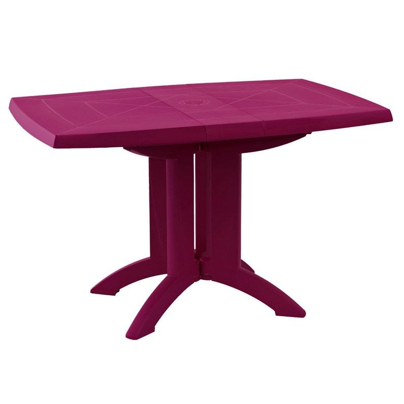 Table de jardin GROSFILLEX Vega rectangulaire framboise personnes