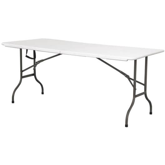 table de jardin cantina rectangulaire blanc 6 8 personnes leroy merlin. Black Bedroom Furniture Sets. Home Design Ideas