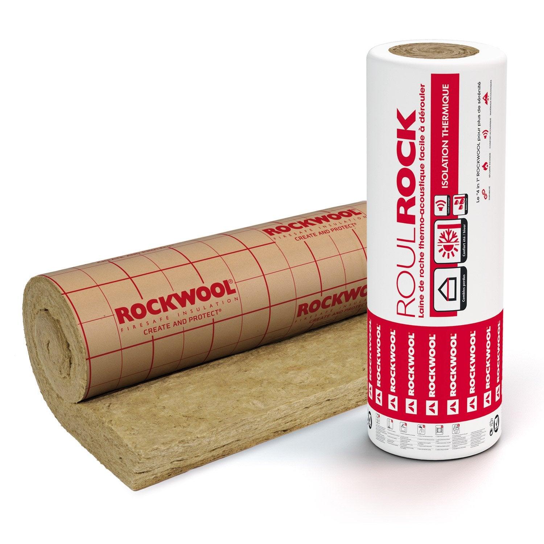 Grand Laine De Roche Roulrock Kraft Perforé ROCKWOOL 5 X 1.2 M, Ep. 100mm,