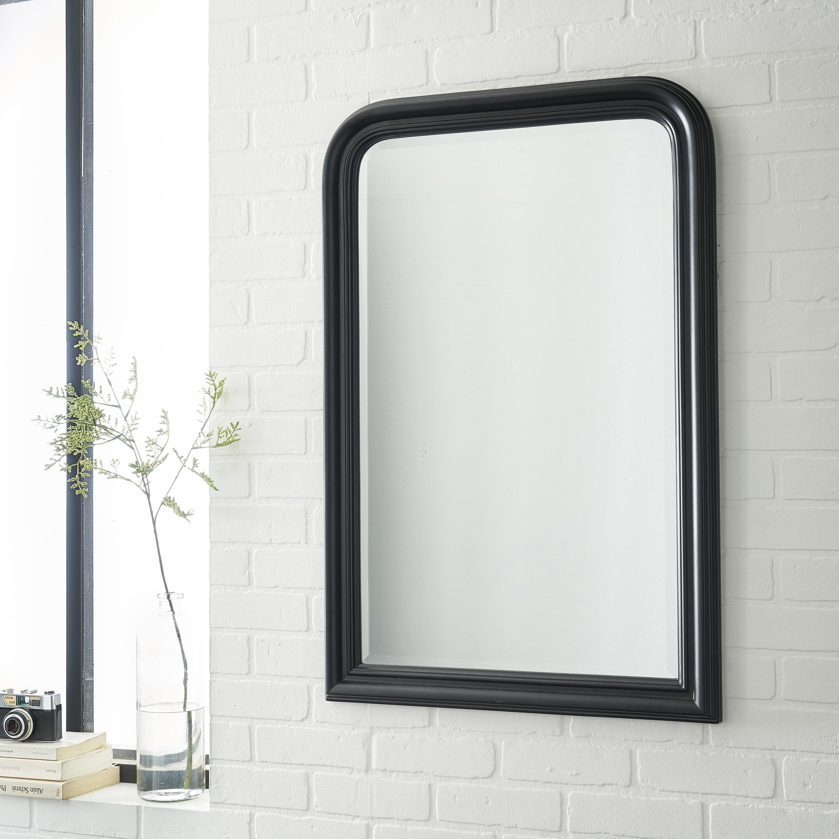 Miroir rectangulaire Voltaire, noir, l.60 x H.90 cm