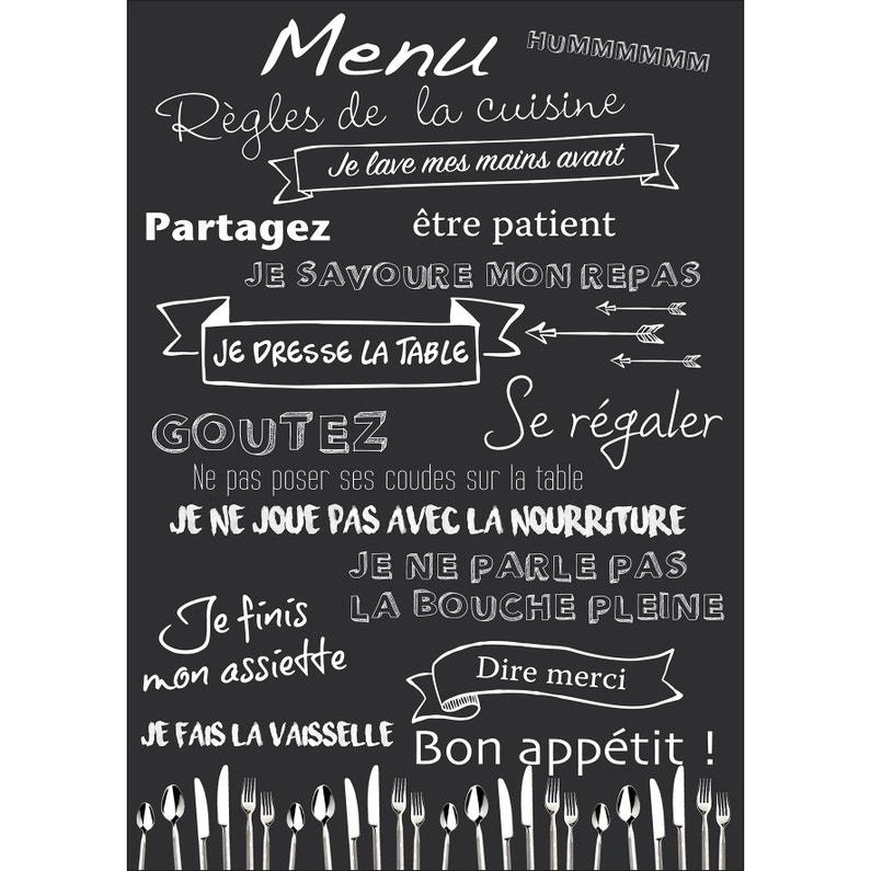 Sticker Les Règles De La Cuisine 48 Cm X 68 Cm