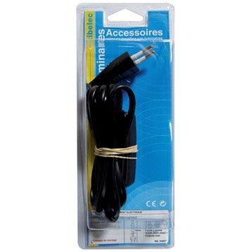 Cordon et interrupteur TIBELEC, plastique, noir