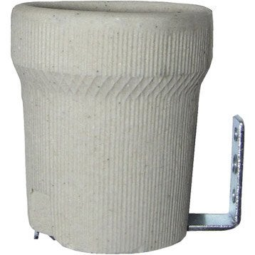 Douille porcelaine E27 TIBELEC, grès cérame, blanc 100 W
