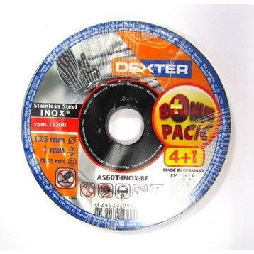 Lot 5 disques à tronçonner pour inox DEXTER, Diam.125 mm